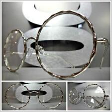 Mens Women VINTAGE RETRO Style Clear Lens EYE GLASSES Round Silver Fashion Frame
