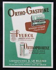 A8) Collection Publicité ancienne Médecine médicament ORTHO-GASTRINE advertising