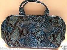 NEW!Estee Lauder Blue Vinyl Snake Skin Print Makeup Bag With Handle