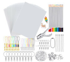 198PCS Shrink Dinks Plastic Kit Shrinky Art Paper Hole Punch DIY Keychains Set
