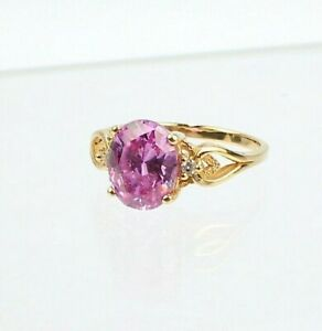 Diamonique 14k Gold, Amethyst, & CZ Cocktail Ring - VR