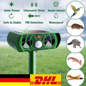 Solar Ultraschall Tiervertreiber Vogelabwehr Vogelschreck Repeller Gartenschutz