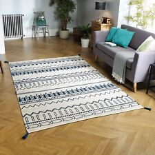 Oriental Weavers Beni Rug 100 Cotton Hand Loomed in India Blue 70 X 140cm