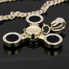 """Gold Plated Hip Hop 14k Gold Plated Black Head Spinner Pendant  30"""" Cuban Chain"""