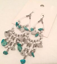 H&M Earrings Turquoise Beads Drop/Dangle Silver Tone Hook