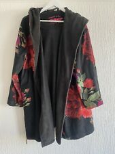 BLACK RED FLORAL BED JACKET DRESSING GOWN HOODED 12/14 TED BAKER WINTER XMAS