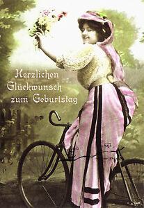 Kunst- Doppelkarte  - Geburtstag - Fahrrad