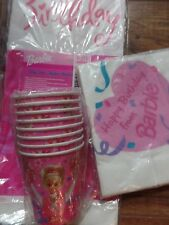 Vintage Barbie Birthday Party  Tablecloth Napkins & Cheerleader Cups (8 cups)