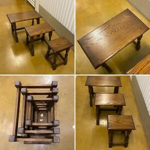 🌟OLD CHARM OAK NEST OF THREE NESTING TABLES SIDE TABLES SET OCCASIONAL COFFEE