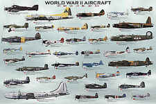 World War II Aircraft Chart Education Airplane Military Print Poster 24x36