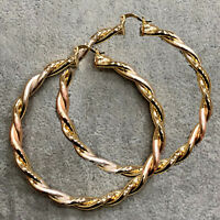 9CT 9K GOLD FILLED HOOPS WOMENS EARRINGS 70MM PROM LADIES LARGE GIFT ROUND