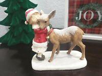 CHRISTMAS Holiday Little Girl Hugging Baby Reindeer Resin Figurines Decor