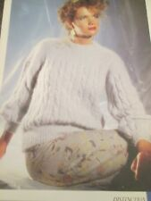 PHILDAR Knitting Pattern Ladies Cable Sweater  Size 32-40