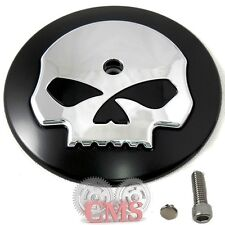 Black & Chrome Skull Air Filter Cleaner Cover Insert For Harley Davidson Intake