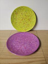 New listing Zak Designs 2 Melamine Confetti Plates Purple Lime Green 11 Inches