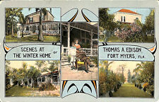"Fort Myers FL ""Scenes at The Winter Home"" of Thomas Edison in 1914 Postcard"