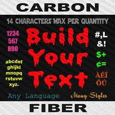 Build Your Text Decal Carbon Fiber Vinyl Custom Sticker