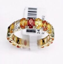 Solid 14k Gold Oval Shape Multi Colored Sapphire Rainbow Eternity Unisex Band