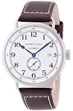 H78465553 Hamilton Mens Khaki Pioneer Mens Watch White Dial Brown Leather Strap