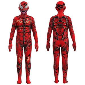 Kids Venom 2 Carnage Cletus Kasady Cosplay Costume Halloween Zentai Jumpsuit