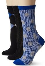 Cole Haan Black//Blue 3-Pack Dotted//Argyle Mixed Trouser Socks $30