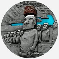 2020 Cameroon 2000 Francs Lava Resin Rapa Nui 2oz Silver Coin - Box & COA
