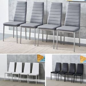 Set of 4 / 6 Dining Chairs Padded Seat High back Metal Legs Home Furniture W/B/G