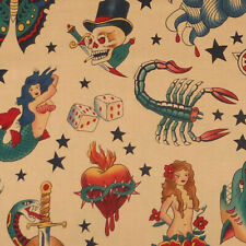 Alexander Henry TATTOO Sailor Jerry inspired Skull Rose Snake Fabric Black