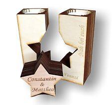 Teelichthalter Holz-Stern mit Gravur individuell gestalten - Geschenk