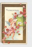 PPC POSTCARD VALENTINE CHERUB CUPID DELIVER MAIL TO BOX ROSES EMBOSSED