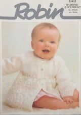 Robin 703 Vintage Baby Knitting Pattern Girls Cardigans 3-6 months 3//4 ply Repro