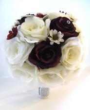 17 piece Wedding Flowers Bridal silk Bouquet BURGUNDY WINE CREAM Daisy package