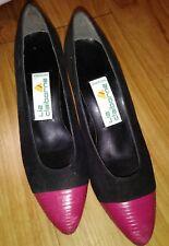 Vintage Liz Claiborne Black and Pink Heel Pumps Shoes Size 6