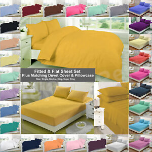 Fitted & Flat Sheet Set Plus Matching Duvet Cover With Two Pillow Case,All Sizes