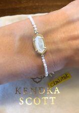 New Kendra Scott Elaina $75 Beaded Adjustable Bracelet Gold Ivory Pearl