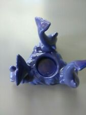 Blue Dolphins ceramic votive candle holder home decor decorative fish figurine