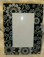 """Black & White Glass Photo Picture Frame 3""""x5"""" Floral Pattern Retro Rectangle  24"""