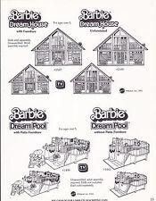 VINTAGE AD SHEET #3458 - 1981 MATTEL - BARBIE DREAM HOUSE POOL