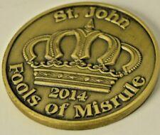 2014 St. John Fools of Misrule Mardi Gras Doubloon brass/bronze