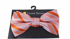 MENS BOW TIE POLKA DOT AND STRIPED PEACH AND ORANGE PRE-TIED BOW WITH CLIP