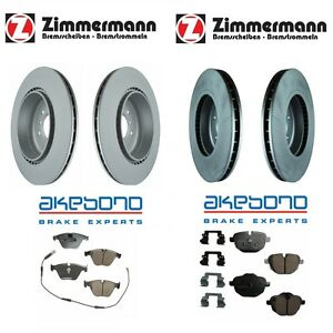 For BMW F10 Front & Rear Zimmermann Vented Disc Brake Rotors & Akebono Pads KIT