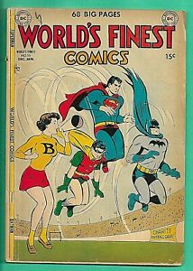 World's Finest Comics #55 DC 1951 Superman Bat Man Penguin Green Arrow Mortimer