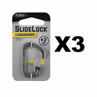 Nite Ize SlideLock Carabiner #2 Stainless Steel Locking 10lb-Rated (3-Pack)
