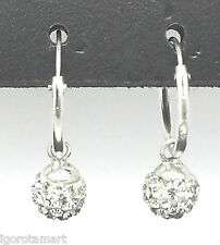 Ladies' Sterling Silver Hinged Round Hook Stud Swarski Gem Dangle Earrings
