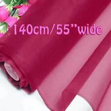 4 Yards Beetroot Purple Pure Silk Organza Bridal Dress Fabric 140cm W