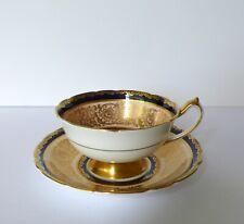 Paragon Cobalt Blue Floral Bone China Cup & Saucer