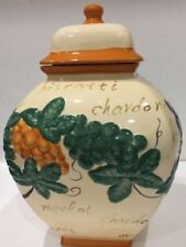 Nonni's Biscotti Cookie Jar Handmade Embossed Canister