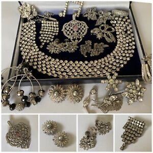 Job Lot Vintage Jewellery Paste Set Brooches, AVON Pendant, Marcasite etc