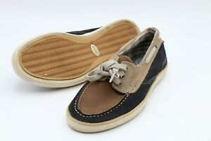 Clarks Mens Jax Boat Shoes Navy Blue Brown Lace Up Moc Toe Leather 8M