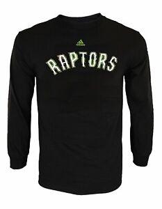 Adidas NBA Men's Toronto Raptors Athletic Basic Graphic Long Sleeve Tee, Black